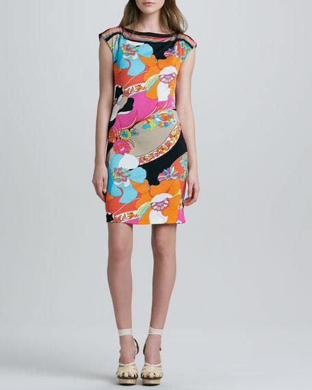Lorena Printed Boat-Neck Dress