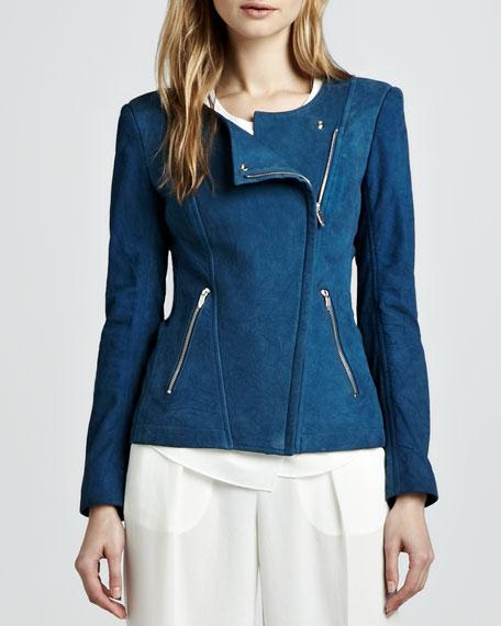 Jarde Asymmetric Suede Jacket