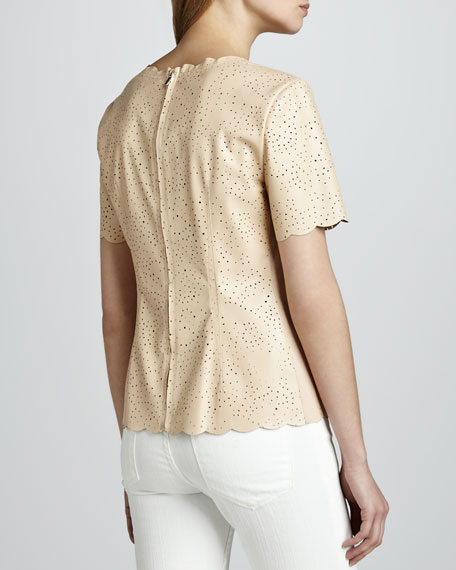 Scalloped Perforated Faux-Leather Top