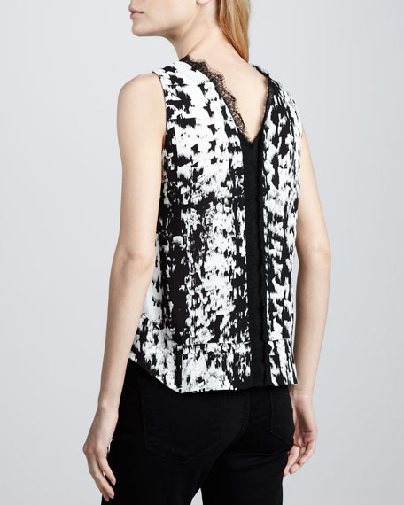 Printed Lace-Trim Top