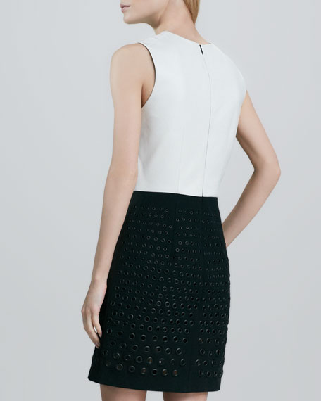 Grommet-Skirt Leather Dress