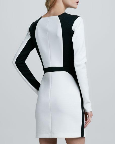 Two-Tone Long-Sleeve Techno Dress