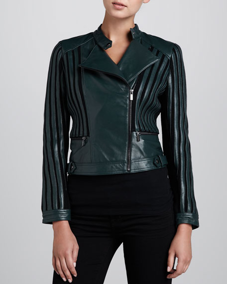 Leather Jacket with Knit Stripes