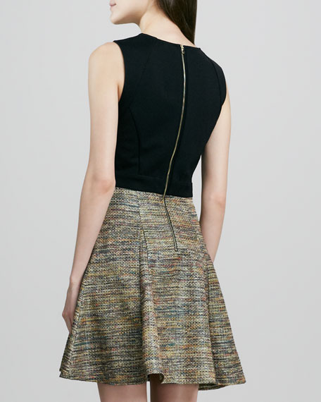Metallic Tweed Fit-and-Flare Dress