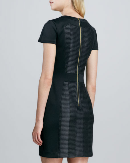 Textured Faux-Leather Sheath Dress
