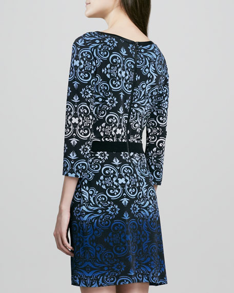 Ombre Printed 3/4-Sleeve Jersey Dress