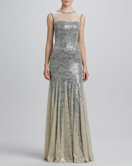 Sequined Lace-Overlay Mermaid Gown