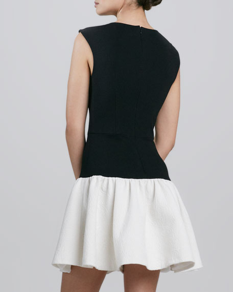 Dropped-Waist Two-Tone Cocktail Dress