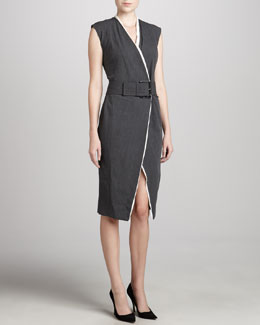Donna Karan Belted Contrast-Trim Dress