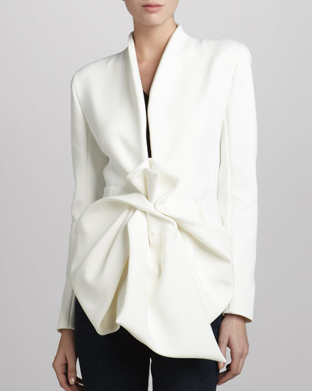 Crepe Bow-Waist Jacket