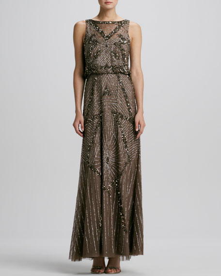 Deco Beaded Sleeveless Gown