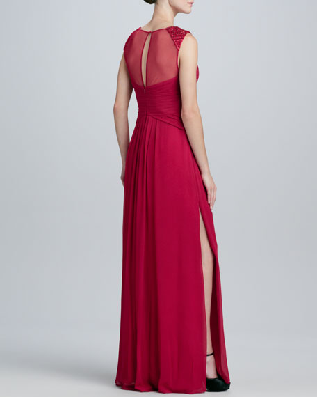 Illusion Sequin-Trim V-Neck Gown