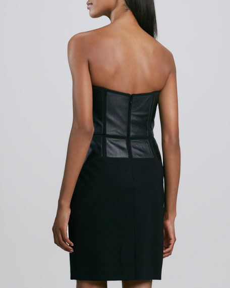 Strapless Leather Cocktail Dress