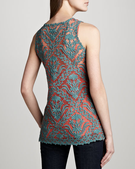 Isabel Embroidered-Overlay Tank