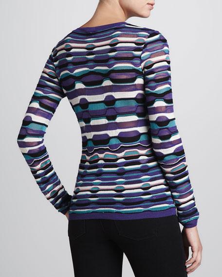 Ladder-Stripe Long-Sleeve Knit Top