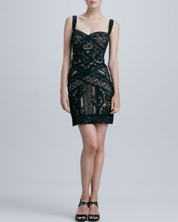 Nicole Miller Fitted Lace Cocktail Dress