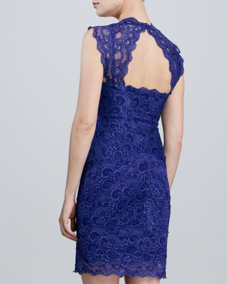 Lace Open-Back Cocktail Dress