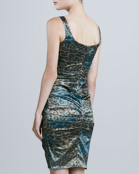 Sleeveless Leopard-Print Cocktail Dress