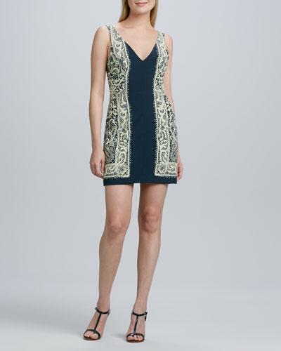 Nicole Miller Artelier Lace-Print Jersey Dress