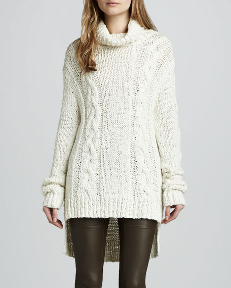 Micah Cable-Knit Tunic Sweater