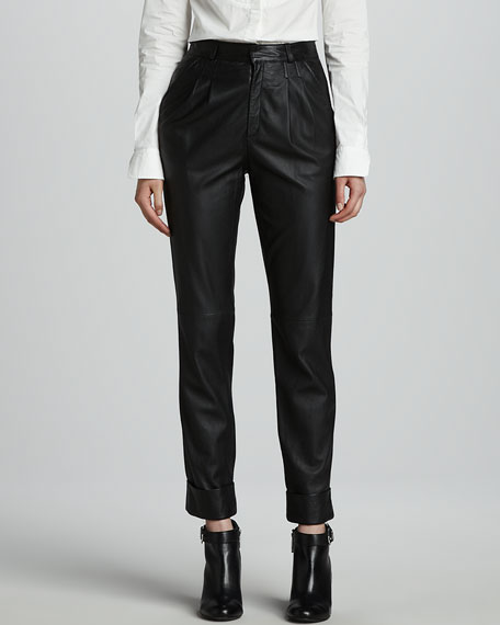 Phoenix Slouchy Cropped Leather Pants