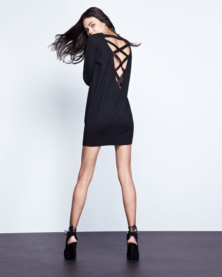 Strappy-Back Wool Dress