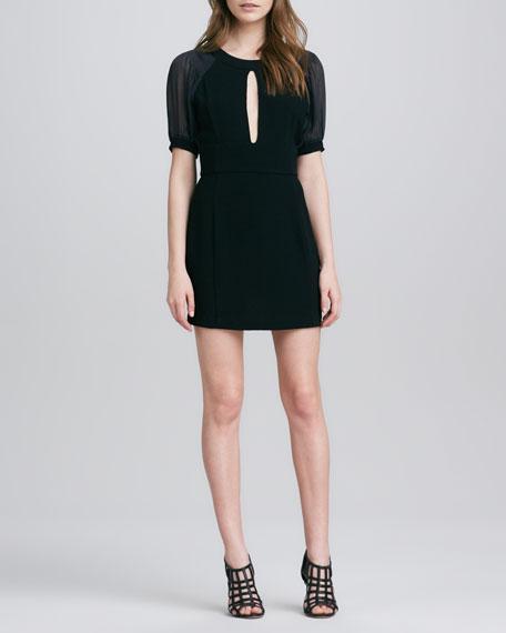 Sheer-Sleeve Georgette Dress