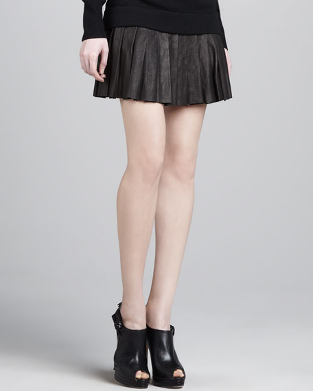 Short Pleated Leather Skirt
