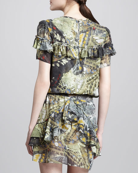 Butterfly-Print Ruffled Silk Dress
