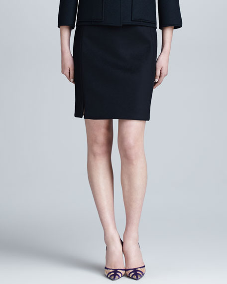 Cashmere Pencil Skirt, Black