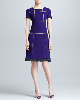 Ralph Rucci Crepe Grid Dress, Violet