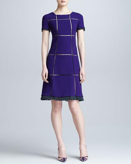 Crepe Grid Dress, Violet