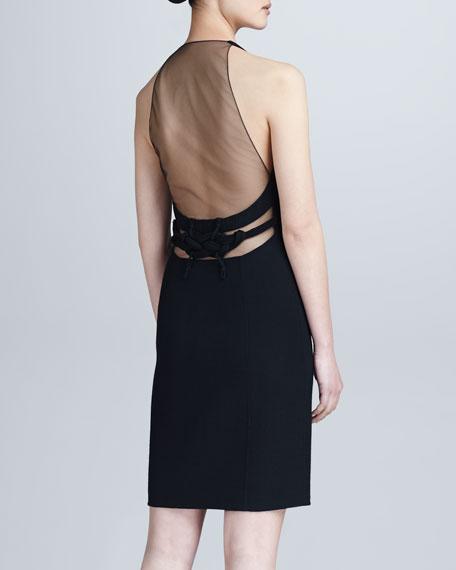 Crepe Zip-Front Illusion-Back Dress, Black