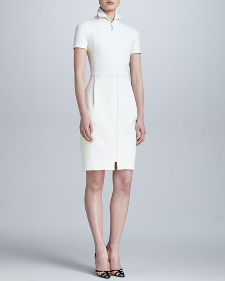 Zip-Front Structured Jersey Dress