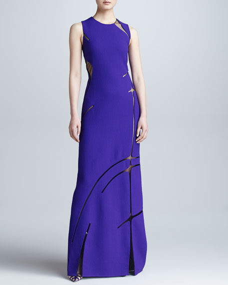 Sheer Inset Gown, Violet