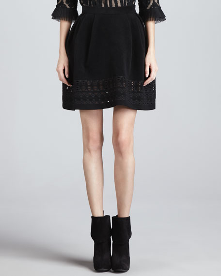 Wool Skirt with Cutout Embroidery