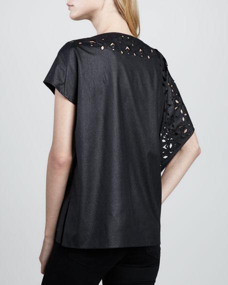 Adona Faux-Leather Cutout Top