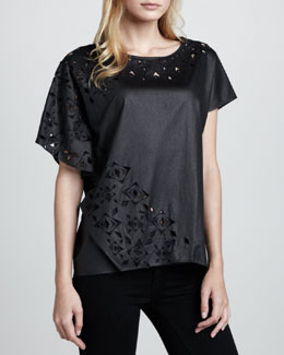 Catherine Malandrino Adona Faux-Leather Cutout Top