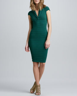 Catherine Malandrino Pointelle-Knit Cap-Sleeve Dress
