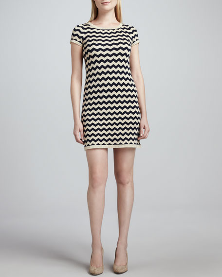 Short-Sleeve Metallic Zigzag Dress