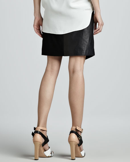 Leather/Ponte Patchwork Skirt