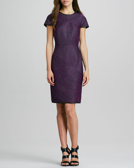Cobra-Embossed Cap-Sleeve Leather-Neck Dress