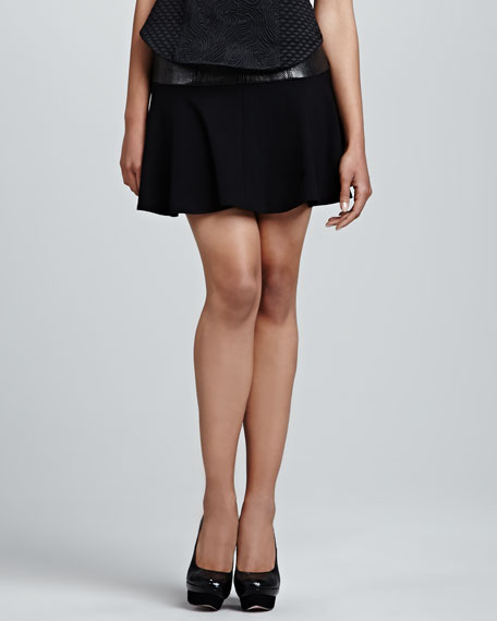 Faux-Leather Yoked Flounce Skirt