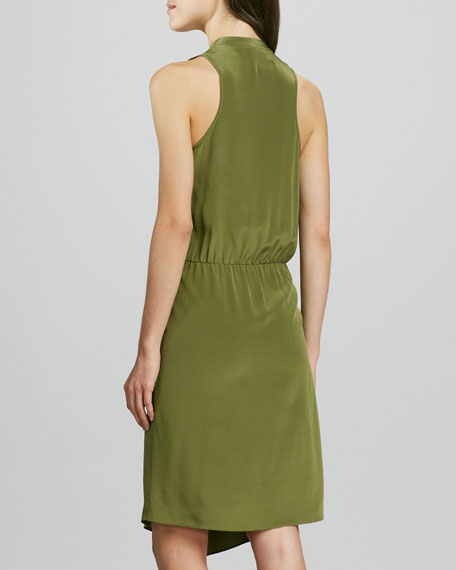 Sleeveless V-Neck Draped Faux-Wrap Dress