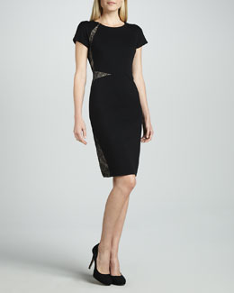Magaschoni Ponte Dress with Lace Insets