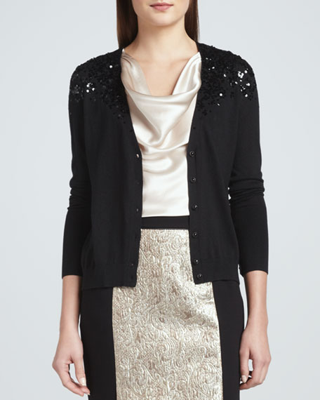 Embroidered Button-Front Cardigan