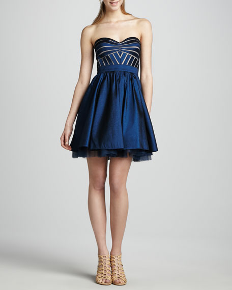 Strapless Flared Cocktail Dress, Deep Sapphire