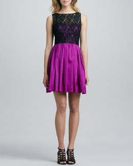 Aidan by Aidan Mattox Lace Bodice Party Dress