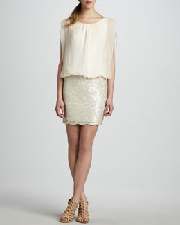 Aidan by Aidan Mattox Blouson-Top Beaded-Skirt Dress