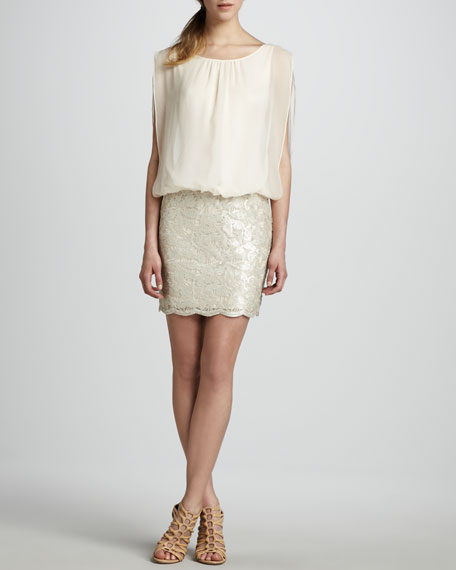 Blouson-Top Beaded-Skirt Dress